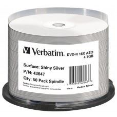 Verbatim DVD-R 16x 4.7 GB Shiny Silver Thermal, termalni, 50 kom