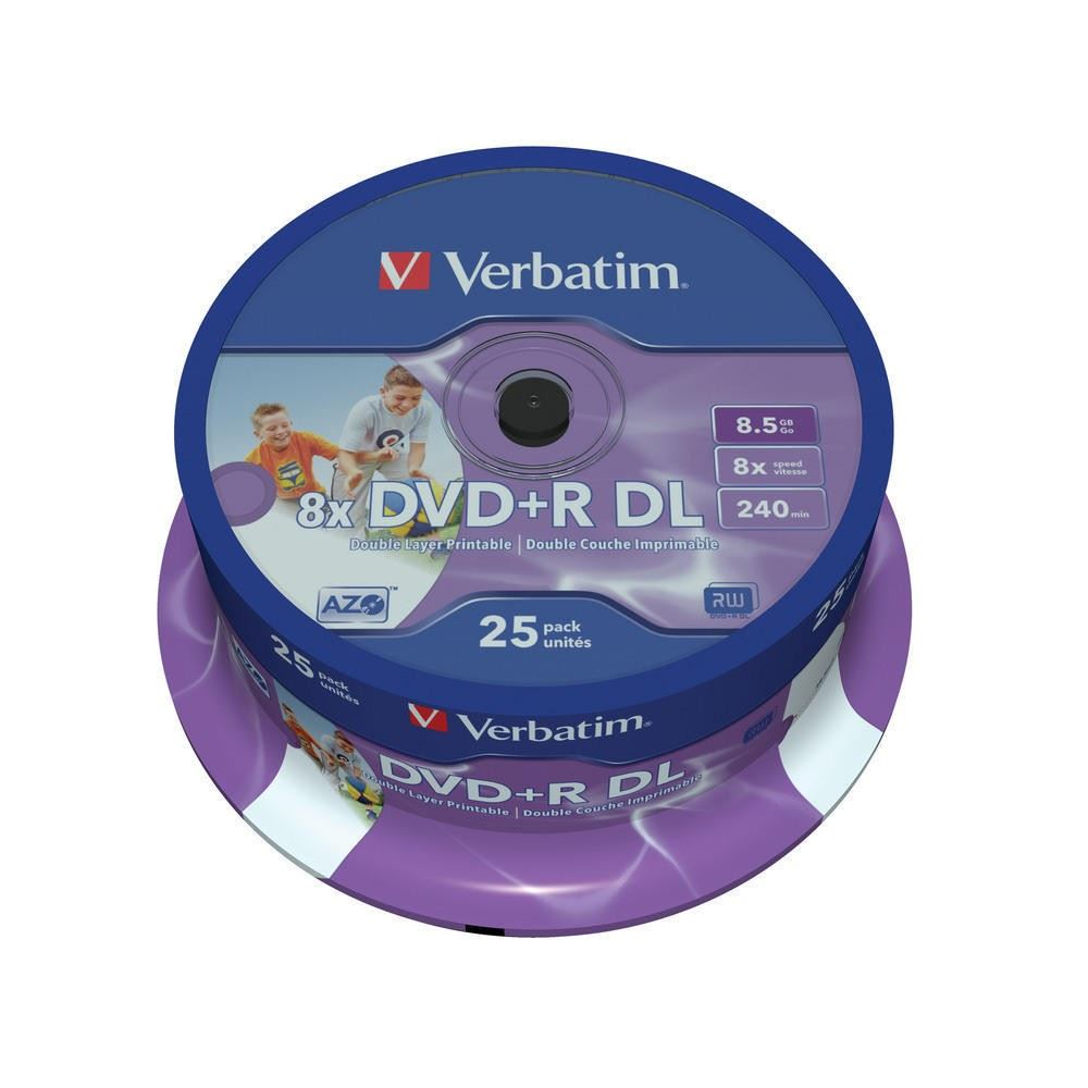 verbatim dvd r 8x dl 8 5gb double layer printable 25 kom. Black Bedroom Furniture Sets. Home Design Ideas