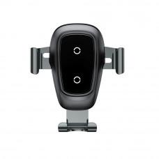 Baseus gravity brezžični QI polnilec in univerzalni nosilec za pametne telefone - metal črn