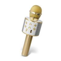 Mikrofon Maxlife MX-300 z bluetooth zvočnikom, za karaoke, zlata barva
