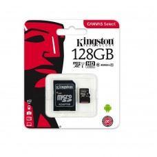 Kingston microSDXC 128GB, UHS-I, class10 z adapterjem