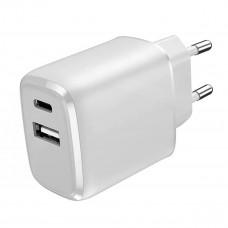 Stenski polnilec Platinet 15W USB TIP-C + USB