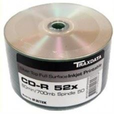 Traxdata CD-R 52x 700MB Full Surface Silver Printable, 50 kom