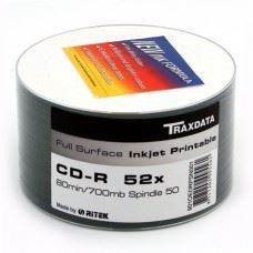 Traxdata CD-R 52x 700MB Full Surface White Printable, 50 kom
