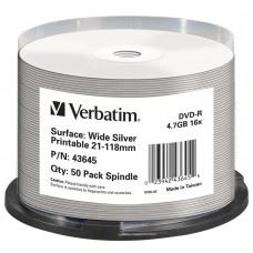Verbatim DVD-R 16x 4.7 GB Full Surface Silver Printable, 50 kom