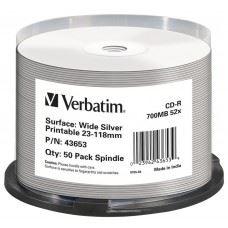 Verbatim CD-R 52x 700 MB Wide Silver Inkjet Printable No ID Brand, 50 kom