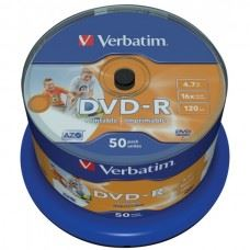 Verbatim DVD-R 16x 4.7GB Full Surface White Printable NoID, 50 kom